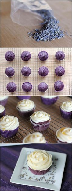 Lavender Cupcakes with Honey Frosting.