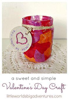 """""""You Warm my Heart"""" Valentine's Day Craft - Little Worlds Big Adventures"""