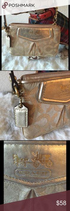 Coach Modern C Lurex Gold Wristlet In pristine condition, Metallic Lurex Gold Coach Wristlet with Modern C Print. Coach Bags Clutches & Wristlets