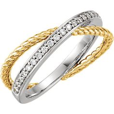 Cross-Cross Rope 14kt Yellow & White 1/5 CTW Diamond Ring