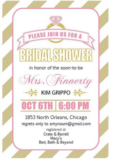 Printable Bridal Shower Invitation. Engagement by smittenimage