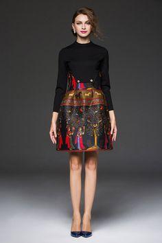 women runway fashion Dresses elegant attract prints designer dress casual retro girl Dress