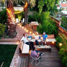 See how one garden, full of challenges, becomes a series of low-maintenance, party-ready rooms