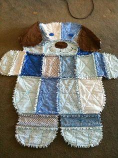 Puppy dog rag quilt for Jax Baby Rag Quilts, Dog Quilts, Animal Quilts, Flannel Quilts, Baby Sewing Projects, Quilting Projects, Quilting Ideas, Teddy Bear Quilt Pattern, Rag Quilt Patterns