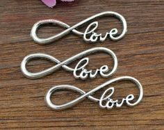 "20pcs--Infinity love Charms, Antique Silver letter ""8"" Infinity symbol With Love Connector Link Charm Infinite Pendant 13x38mm"