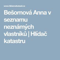 Bešornová Anna v seznamu neznámých vlastníků Anna