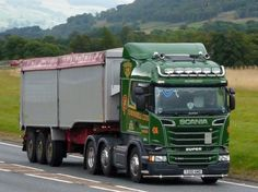This June, 2014 registered Scania is operated by B. Mundell of Tarbert and is pictured on September 2014 hauling a bulk tipper semi-trailer on the northbound passing the Falls of Bruar, near Blair Atholl. Semi Trailer, Commercial Vehicle, September 2014, Classic Trucks, Cool Trucks, North America, Britain, Scotland, Vehicles