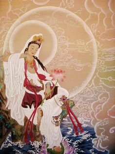 Avalokiteshvra (Kwan Yin) ~ Goddess of compassion, health, fertility, beauty and guardian of children. She has a sacred duty to relieve suffering and encourage enlightenment among humans. In eatstern...