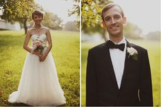 Trendy Wedding Dresses  :    J. Crew wedding dress & groom's tux