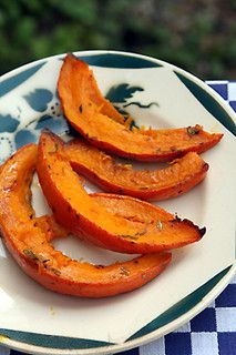 pumpkin slices by David Lebovitz. Brush with olive oil, salt, pepper. Other additions can include some thinly sliced garlic; fresh thyme, rosemary or sage; or cinnamon and brown sugar or maple syrup, replacing the olive oil with butter. Or brush with tamari, ginger & garlic. Bake 200c, 20-30mins.
