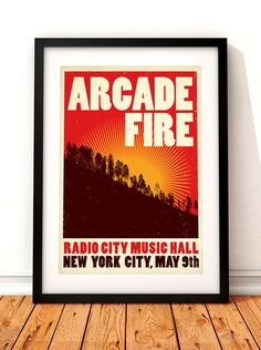 Arcade Fire concert poster art.  This concert poster print would make a great addition to any music lovers home. The print celebrates cult Canadian band Arcade Fires 2007 gig at The Radio City Music Hall, New York.  All of our prints are produced to the highest standards using the finest 235gsm cotton rag fine art paper. The natural white paper we use works beautifully with our long lasting vibrant inks and gives our prints great depth and quality. Colours may slightly vary due the variable…