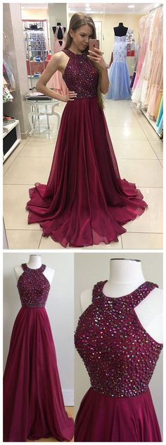 Burgundy Chiffon 2017 Prom Dress,Long Formal Dress,Senior Prom Gown,Beaded Party Dress