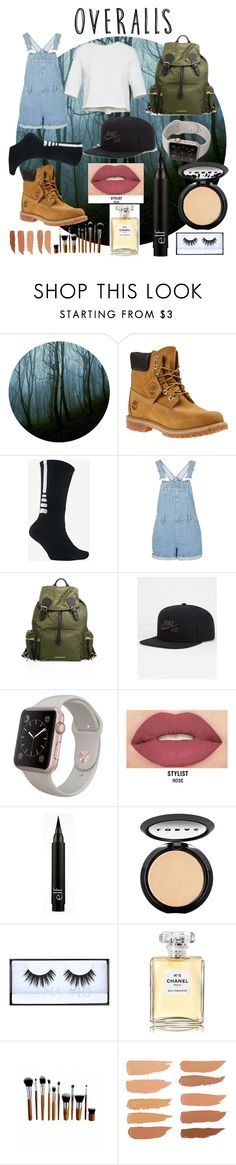 """Overall"" by demixb on Polyvore featuring Timberland, NIKE, Burberry, Smashbox, LORAC, Chanel, TrickyTrend and overalls"