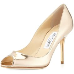 Jimmy Choo Evelyn Metallic Leather Peep-Toe Pump ($343) ❤ liked on Polyvore featuring shoes, pumps, brown, nude pumps, high heel shoes, leather pumps, peep toe pumps and peep toe shoes