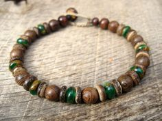 Mens bracelet, jade and goldstone, wood and coconut shell beads, tribal surfer style, natural materials on hemp cord, toggle and loop clasp