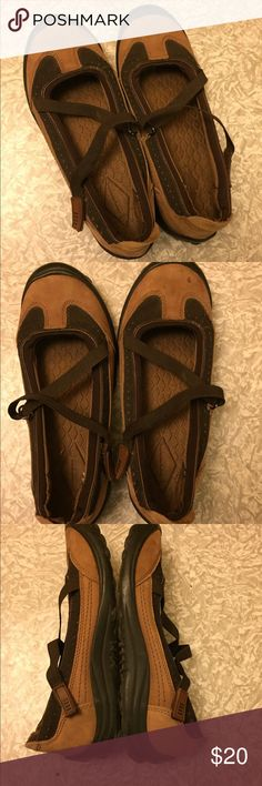 Lands End elastic cross strap Mary-janes Brand new. These are a re-posh. The label inside is a little confusing. They were sold to me as a size 8, but I can't even get my size 8 foot in (like Cinderella's giant-footed stepsister 😁), so I think they are a size 6. Take a look at the label. Please make an offer if you're interested! Lands' End Shoes Flats & Loafers