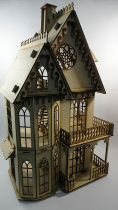Casa Gotica Muñecas, Rompecabezas 3d, Hecha En Madera Mdf - $ 650.00 en MercadoLibre Alice In Wonderland Steampunk, Advent House, Fairy Houses, Doll Houses, Play Houses, Haunted Dollhouse, Diy Dollhouse, Dollhouse Miniatures, Dollhouse Furniture