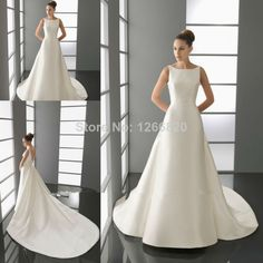 2014 new Simple Sleeveless High Neck A-line Satin Wedding Dress Removable Train vestido de noiva $146.00