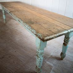 big farmhouse dining table - that aged look is timeless and so easy to achieve