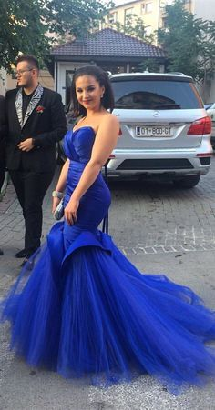 Mermaid Sweetheart Royal Blue Gorgeous Prom Dress with Tulle Train Fanny Dresses Gorgeous Prom Dresses, Royal Blue Prom Dresses, Blue Wedding Dresses, Blue Dresses, Wedding Blue, Latest African Fashion Dresses, African Print Fashion, Evening Dress Long, Evening Dresses