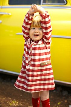 Bringing red accent is as simple as clothing or a prop.love the pop of color (red) on yellow Toddler Fashion, Kids Fashion, Scarlet, Stylish Kids, Kid Styles, Cool Baby Stuff, Little People, Baby Wearing, Beautiful Babies