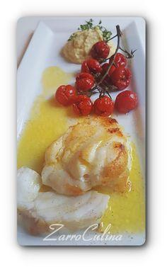 ♡ Richtig tolle Aromen zum feinen Fisch 2 Portionen Für den Fisch 400 g Seeteufel Saft einer halben Zitrone 40 g Butter 1 EL Butterschmalz zum Braten Salz Für die Tomaten 400 g Rispentomaten 5-6 Zw…