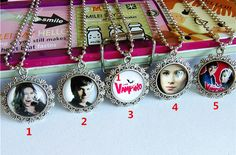 (12pcs/lot Mixed models)The Vampire Diarie Necklace CHICA VAMPIRO daisy Sweater chain Cartoon Movie Children girls torque