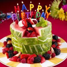Watermelon Birthday 'Cake': Thanks to @divya ! by spoonful #Birthday_Cake #Watermelon