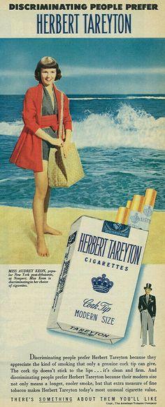 1949 Herbert Tareyton Cigarettes Ad, Pretty Girl at the Beach Vintage Advertisements, Vintage Ads, Vintage Cigarette Ads, Classic Films, Pretty Girls, Advertising, Retro, Beach, Flappers