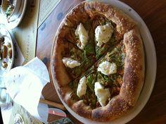 Squash blossom and burrata pizza. Pizzeria Mozza, Los Angeles.