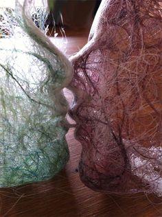 soie peinte detissée, fibres moulées