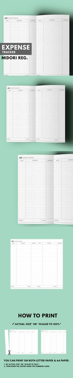 Expense Tracker ▹ for Midori Traveller's notebook Regular size  Printable   Expense Tracker in minimal style. Help your track your daily expense while bring you Midori TN Passport Everywhere you go.