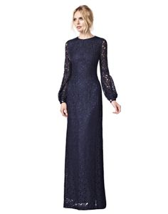Josephine Navy Lace Dress from LaDress - blackpin Dress Brokat Muslim, Dress Brokat Modern, Muslim Dress, Dress Brukat, Kebaya Dress, Lace Dress, Long Sleeve Evening Gowns, Long Sleeve Gown, Modest Dresses