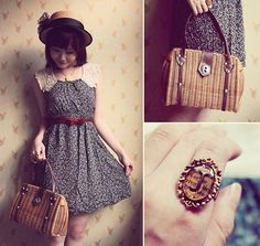 Tnc Boater, Thrifted Lace Floral Dress, Vintage Straw Bag, Modigliani Initial Ring