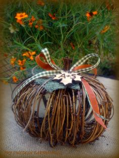 Fall Table Centerpiece Rustic Wedding Decor with Personalized Wood Leaf Custom Your Color Choice of Ribbon