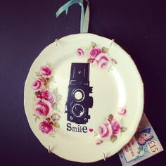heart vintage smile up-cycled plate at Powder Blue