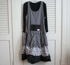 Plaid Lagenlook Layering Tunic 3 tier Dress by Breathe1960 on Etsy, $135.00