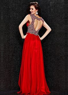 Flowing Silk-like Chiffon V-Neck A-Line Prom Dresses With Beads & Rhinestones #blackfriday