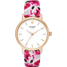 kate spade watches Floral Leather Metro Watch Women's (345 BAM) ❤ liked on Polyvore featuring jewelry, watches, fashion accessories, red, floral jewelry, floral watches, leather watches, red jewelry and leather jewelry