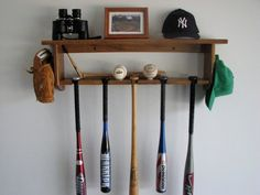 Baseball Bat Rack Decorative Oak Wall Shelf Display 5 Bats, Pictures, Trophies…