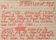 """A letter from John Lennon to producer Phil Spector in which he claims it was singer Harry Nilsson and drummer Keith Moon –not him!– who """"pissed on the console""""!"""