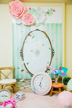 Check out this fabulous Alice in Wonderland photo booth. Love the backdrop and props!! See more party ideas and share yours at CatchMyParty.com #aliceinwonderland #photobooth