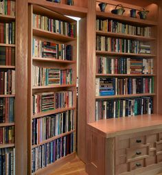 This completely custom bookcase door in a home office leads to a guest bedroom. This completely custom bookcase door in a home office leads to a guest bedroom. Hidden Bookshelf Door, Bookcase Door, Bookshelf Design, Bookshelf Ideas, Bookcases, Short Bookshelf, Bedroom Bookcase, Office Bookshelves, Rustic Bookshelf
