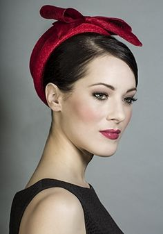 Rachel Trevor-Morgan Millinery - Red Italian straw pillbox with straw bow
