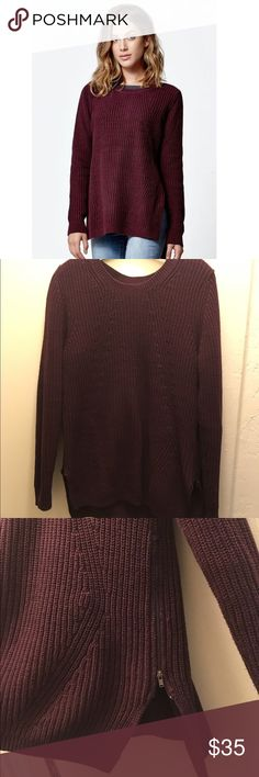 PacSun LA Hearts sweater I bought this last winter but has never been worn. I never returned them & took off the tags. Super cute sweater, not itchy material & no tears. Hope u like it! Color is burgundy & it has 2 side zippers PacSun Sweaters Crew & Scoop Necks