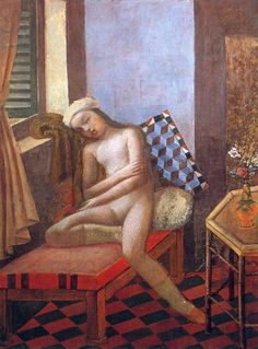 Sleeping Nude ~ ~Painting by Balthus (Balthazar Klossowski), a.a Balthus ~ Oil On Canvas ~ National Gallery of Victoria, Melbourne. Art And Illustration, Figure Painting, Painting & Drawing, Figurative Kunst, European Paintings, Modern Artists, Erotic Art, Oeuvre D'art, Art World