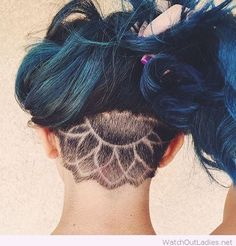 Awesome mandala undercut and blue hair color