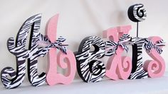 Children's Decor Baby Girl Nursery Letters Black by thepatternbag, $89.94