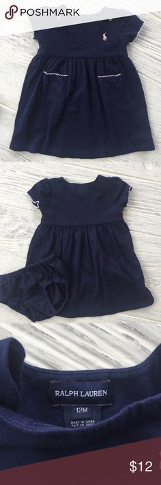 Ralph Lauren 12M Dress Pretty navy dress with pale pink stitching. Comes with matching diaper cover.                                            🐴 Ralph Lauren                                                           🐴 12M                                                                          🐴 Excellent used condition Ralph Lauren Dresses