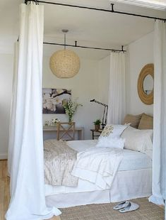 Drapes are not just for windows!  Dreamy, drapey bed inspiration.